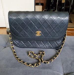 Vintage CHANEL Black Half Moon Flap Shoulder Bag